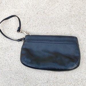 COACH wristlet pouch zipper strap BLACK LEATHER